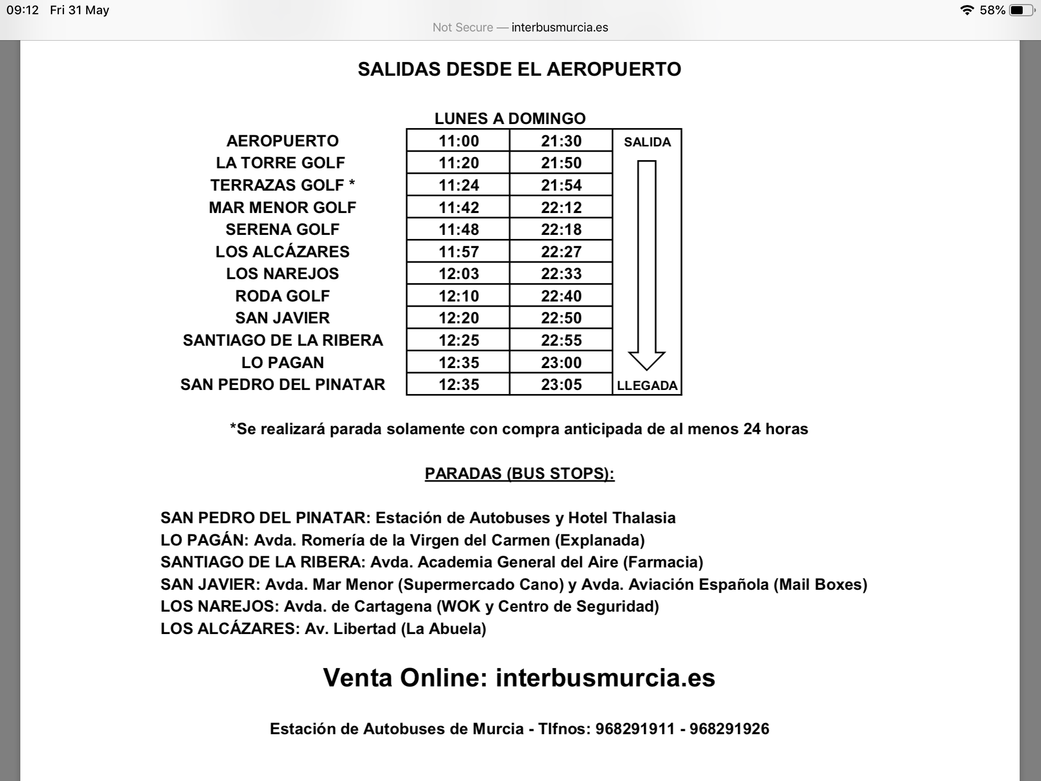 Inter bus timetable from Murcia international airport