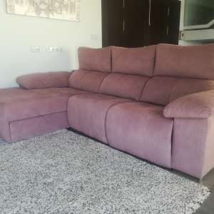 For sale: Fabric double electric reclining chaise sofa - €399