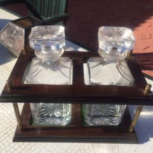 For sale: Set of decanters (1 antique) both sets as pictured