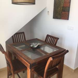 For sale: Dining table and 4 chairs including matching Lamp Shade.