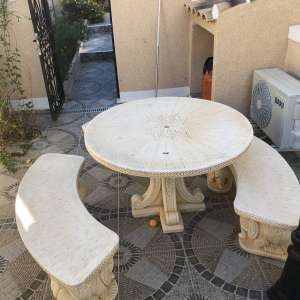For sale: Concrete patio table and seats - €150