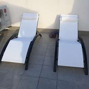 For sale: 2 x New fully adjustable white sunbeds with headrest - €100